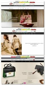Brands official online stores on Shinsegae Mall website