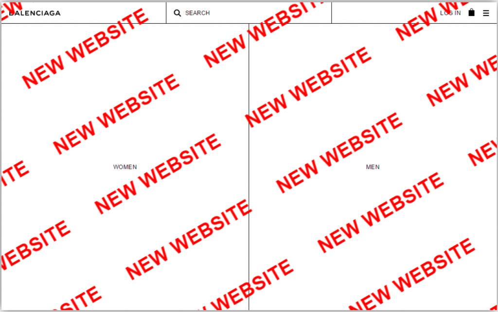 Balenciaga new homepage