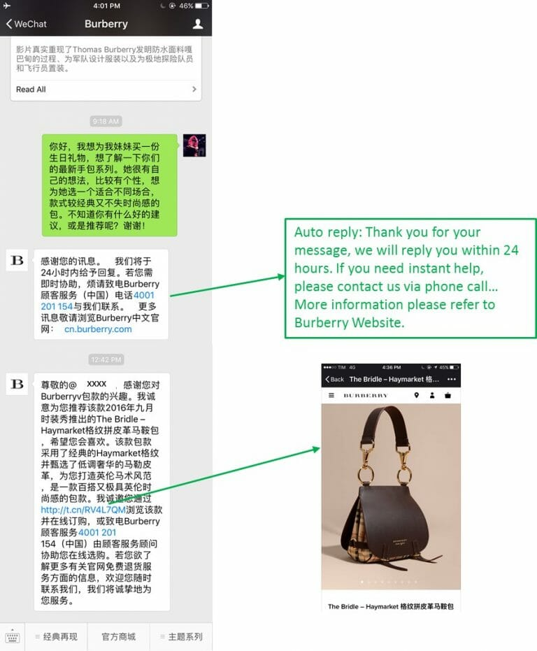 Example: Burberry offering customer service via WeChat