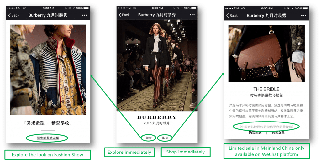 Burberry - Temporary WeChat boutique for Fashion Week on September, 2016